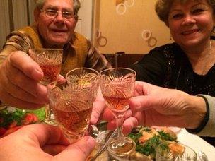 Ivan, Irina and others toast drinks