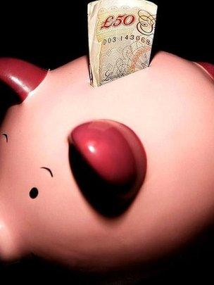 Piggy bank with £50 note
