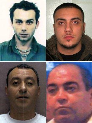 (Clockwise top left to bottom right) Timur Mehmet, Costas Sampson, Hasan Akarcay, Mehmet Salih