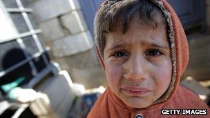 Syrian refugee boy