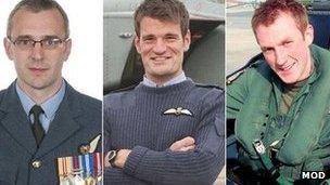Sqd Ldr Samuel Bailey, Flt Lt Hywel Poole agus Flt Lt Adam Sanders