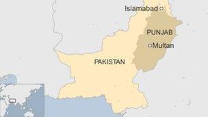 Map of Multan