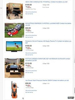 Ebay listings