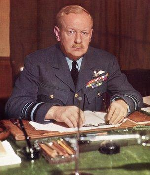 English Air Force officer Arthur Harris, who, as commander-in-chief Bomber Command RAF, earned the nickname 'Bomber Harris'