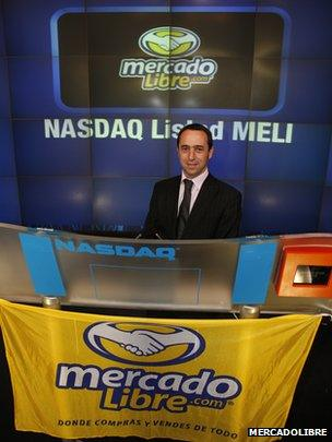 Marcos Galperin launching the firm's IPO in 2007