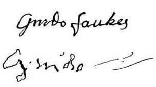 Fawkes's signature before and after torture