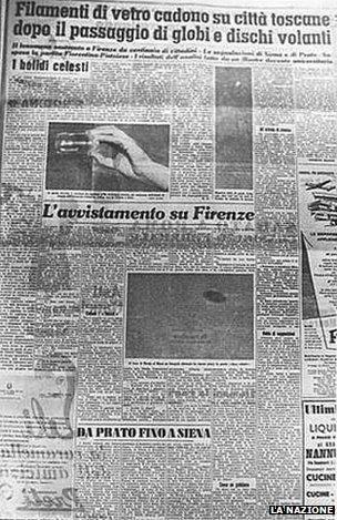 La Nazione had a photo of the UFO over Florence
