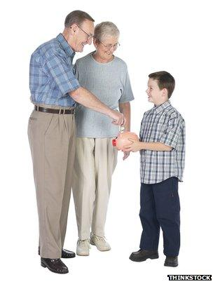 grandparents give money to grandson