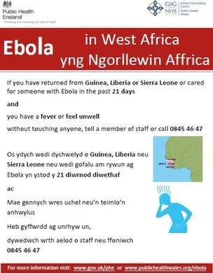 Ebola warning poster from Public Health Wales
