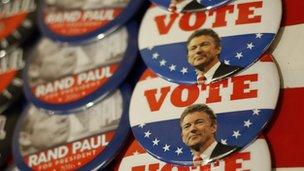Campaign buttons with Rand Paul's face