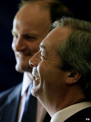 Douglas Carswell and Nigel Farage share a joke