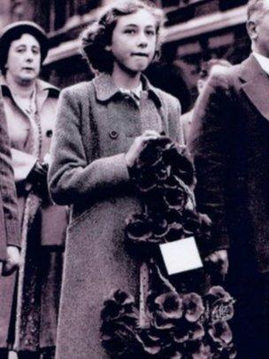 Jacqueline Tanner in 1949. laying a wreath at the cenotaph in Whitehall on behalf of the Lancastria Survivors Association.