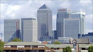 Canary Wharf and Docklands in London. File photo