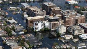 Flooding in downtown New Orleans, 6 Sept 2005