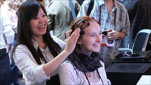 Emotiv Epoc headset in use, TED Global