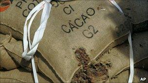 Sacks of cocoa beans