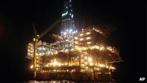 An oil rig platform situated off Angola