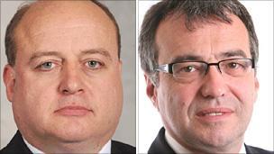 Elwyn Watkins (left) and Phil Woolas