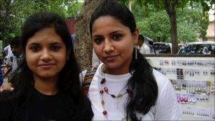 Shoppers Poorti (left) and Shreya