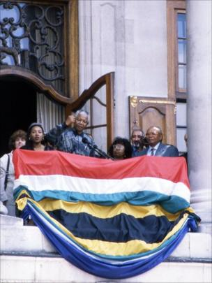 Mandela in London after release