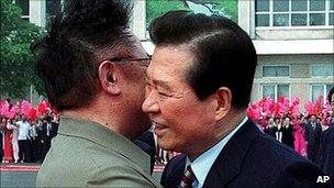 Kim Jong-il embraces South Korea's Kim Dae-jung in 2000