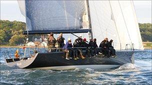 Mr Hayward's yacht during the JP Morgan Round the Island Race