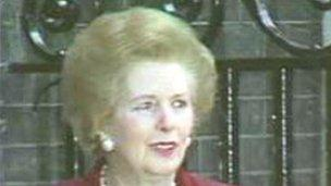 Mrs Thatcher leaving office in 1990
