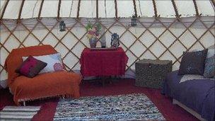 Interior of yurt at Broome Retreat, Powys