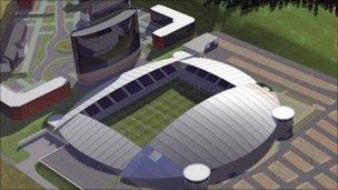 Artist's impression of stadium