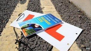 Learner plates and copy of Highway Code