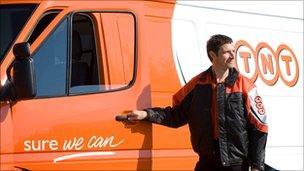 TNT driver and van