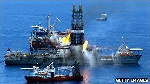 A drillship burns off gas collected at the BP Deepwater Horizon oil spill
