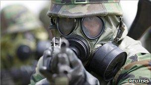 South Korean soldier on a drill, file image