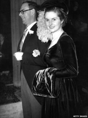 Margaret Hilda Thatcher, nee Roberts, Conservative politician and future Prime Minister on her wedding day, with husband Denis