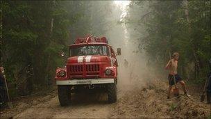 Fire vehicle, forest area close to Kadanok village