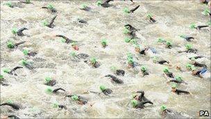 Competitors start the Challenger World London Triathlon in London