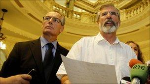 Gerry Kelly and Gerry Adams at Belfast City Hall