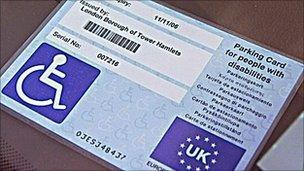Blue badge parking card
