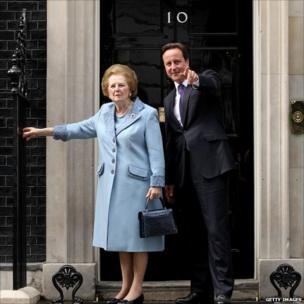 British Prime Minister David Cameron greets former Prime Minister Baroness Thatcher on the steps of No 10 Downing Street on June 8, 2010 in London, England