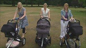 Amelia Fitzpatrick, Lucy Guthrie and Lucy Sloam walking on Southampton Common