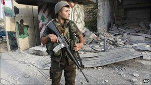 Lebanese soldier carrying American-made rifle