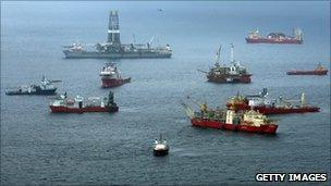 Vessels at the site of the spill