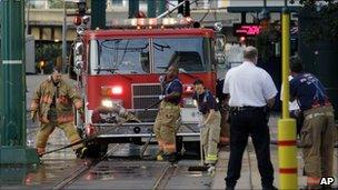Emergency services cleaning up after shooting - Buffalo, New York, 14 August 2010