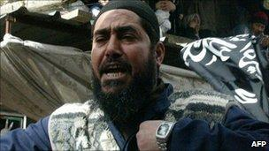 Abd-al-Rahman Awad at a demonstration in February 2006 in the Ain al-Hilweh Palestinian refugee camp in southern Lebanon.