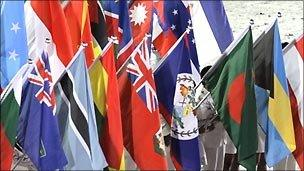 Flags at opening of Youth Olympics