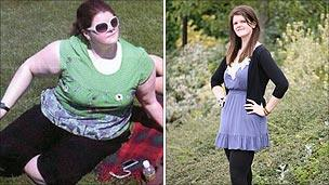 Kelly Meager before (left) and after (right) her weight loss