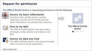 Dislike button permission page