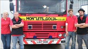 The Monletsgolia team and their fire engine