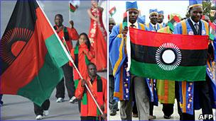 Malawi's old and new flags