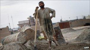 Construction worker in Lashkar Gah in March 2010